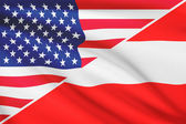 Series of ruffled flags. USA and Austria. — Stock Photo