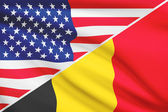 Series of ruffled flags. USA and Belgium. — Stock Photo