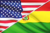 Series of ruffled flags. USA and Bolivia. — Stockfoto