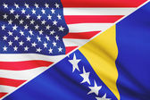 Series of ruffled flags. USA and Bosnia and Herzegovina. — Stock Photo