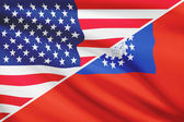Series of ruffled flags. USA and Republic of the Union of Myanmar. — Stock Photo