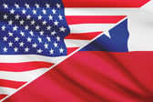 Series of ruffled flags. USA and Chile. — Stock Photo