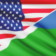 Series of ruffled flags. USA and Republic of Djibouti. — Stock Photo #44618325
