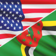 Постер, плакат: Series of ruffled flags USA and Commonwealth of Dominica