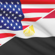 Series of ruffled flags. USA and Arab Republic of Egypt. — Stock Photo