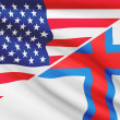 Series of ruffled flags. USA and Faroe Islands. — Stock Photo