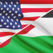 Series of ruffled flags. USA and Hashemite Kingdom of Jordan. — Stock Photo