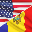 Series of ruffled flags. USA and Republic of Moldova. — Stock Photo #44618947