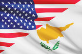 Series of ruffled flags. USA and Republic of Cyprus. — Stock Photo