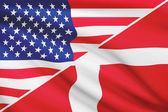 Series of ruffled flags. USA and Kingdom of Denmark. — Stock Photo