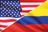 Series of ruffled flags. USA and Republic of Colombia. — Foto Stock
