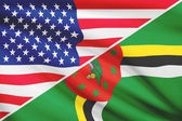 Series of ruffled flags. USA and Commonwealth of Dominica. — Stock Photo