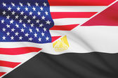 Series of ruffled flags. USA and Arab Republic of Egypt. — Foto Stock