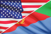 Series of ruffled flags. USA and State of Eritrea. — Stock Photo
