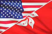 Series of ruffled flags. USA and Hong Kong Special Administrative Region of the People's Republic of China. — Stock Photo