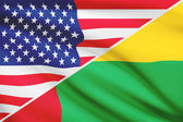 Series of ruffled flags. USA and Republic of Guinea-Bissau. — Foto Stock