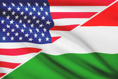 Series of ruffled flags. USA and Hungary. — Foto Stock