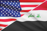 Series of ruffled flags. USA and Republic of Iraq. — Foto Stock