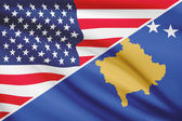 Series of ruffled flags. USA and Republic of Kosovo. — Stock Photo