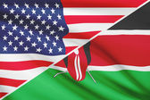 Series of ruffled flags. USA and Republic of Kenya. — Foto Stock