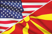 Series of ruffled flags. USA and Republic of Macedonia. — Foto Stock