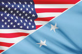 Series of ruffled flags. USA and Federated States of Micronesia. — Stock Photo