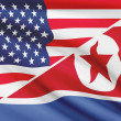 Series of ruffled flags. USA and Democratic People's Republic of Korea. — Stock Photo