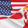 Series of ruffled flags. USA and Northern Ireland. — Stock Photo