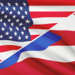 Series of ruffled flags. USA and Commonwealth of Puerto Rico. — Stock Photo