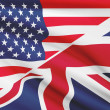 Series of ruffled flags. USA and United Kingdom of Great Britain and Northern Ireland. — Stock Photo