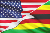 Series of ruffled flags. USA and Republic of Zimbabwe. — Stock Photo