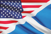 Series of ruffled flags. USA and Scotland. — Stock Photo