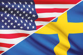Series of ruffled flags. USA and Kingdom of Sweden. — Stock Photo