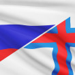 Series of ruffled flags. Russia and Faroe Islands. — Stock Photo
