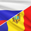 Series of ruffled flags. Russia and Republic of Moldova. — Stock Photo #45650179