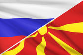 Series of ruffled flags. Russia and Republic of Macedonia. — Stock Photo