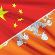 Series of ruffled flags. China and Kingdom of Bhutan. — Stock Photo #46717219
