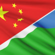 Series of ruffled flags. China and Republic of Djibouti. — Stock Photo #46717351