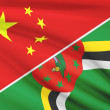 Постер, плакат: Series of ruffled flags China and Commonwealth of Dominica