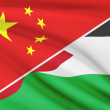 Series of ruffled flags. China and Hashemite Kingdom of Jordan. — Stock Photo