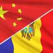 Series of ruffled flags. China and Republic of Moldova. — Stock Photo #46718717