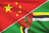 Series of ruffled flags. China and Commonwealth of Dominica. — Stock Photo