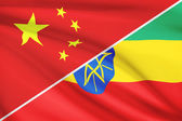 Series of ruffled flags. China and Federal Democratic Republic of Ethiopia. — Stock Photo