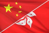 Series of ruffled flags. China and Hong Kong Special Administrative Region of the People's Republic of China. — Stock Photo