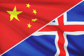 Series of ruffled flags. China and Iceland. — Stock Photo