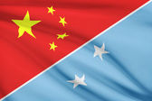 Series of ruffled flags. China and Federated States of Micronesia. — Stock Photo