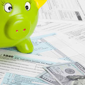 United States of America Tax Form 1040 with green piggy bank - 1 to 1 ratio — Stock Photo