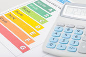 Energy efficiency chart with calculator — Stock Photo