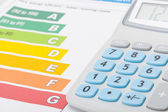 Calculator with energy efficiency chart — Stock Photo