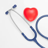 Stethoscope with red heart - studio shoot on white - 1 to 1 ratio — Stock Photo